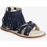 Girls' Leather Sandals with Fringes blue dark solid