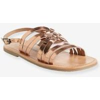 Girls' Sandals, in Metallized Leather pink medium metallized