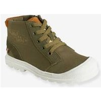 Boys' Leather High-Top Trainers, in Fabric green medium solid