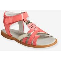 Girls' Leather Sandals, Autonomy Collection pink bright solid with desig