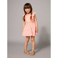 Girls' Dress with Flowery Frill pink bright all over printed