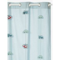 Sheer Curtain blue light solid with design