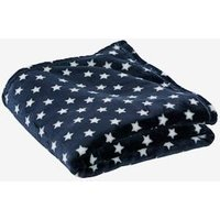 Children's Microfibre Blanket, Star Print blue dark all over printed