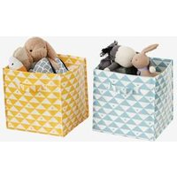 Set of 2 Storage Boxes white light two color/multicol