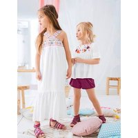Girls' Long Dress, in Crepon pink light solid with design