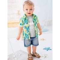 Baby Boys' Shirt with Tropical Print green light all over printed