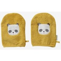 Pack of 3 Wash Mitts, Panda yellow dark solid with design
