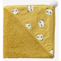 Bath Cape, Panda Yellow Dark Solid With Design