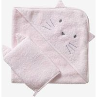 Bath Cape + Wash Mitt, In Organic Cotton Pink Light Solid