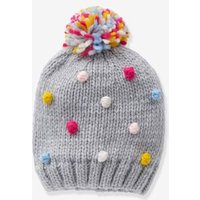 Beanie With Multicoloured Pompoms For Girls Grey Medium Solid With Design
