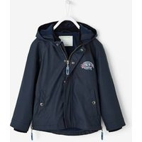 Windcheater with Fleece Lining for Boys blue dark solid with design
