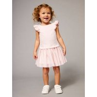 Girls' Dual Fabric 2-in-1 Dress blue dark solid