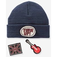 Beanie With Detachable Patches For Boys Blue Dark Solid With Design