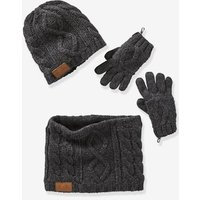 Cable-knit Beanie + Snood + Gloves For Boys Blue Bright Solid