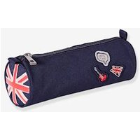 Pencil case with Flag for Boys blue dark solid with design