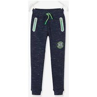 Fleece Joggers for Boys black dark solid with design