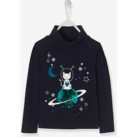 Astrocat Top For Girls, With Reversible Sequins And Iridescent Motifs Blue Dark Solid With Design