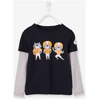 2-in-1 Top For Boys Blue Dark Solid With Design