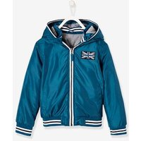 Hooded Jacket with Lining for Boys red dark solid with design