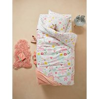 Duvet Cover + Pillowcase Set for Children, Flowers and Dragonflies Theme white light solid with design