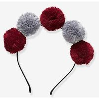 Alice Band With Pompoms For Girls Grey Dark Two Color/multicol