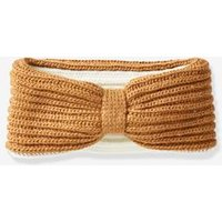 Reversible Knit Hairband for Girls brown medium solid with design