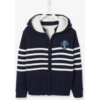 Striped Hooded Jacket with Plush Lining for Boys blue dark striped