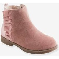 Leather Boots with Fur for Girls beige medium solid