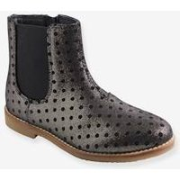 Fancy Leather Boots for Girls grey dark all over printed