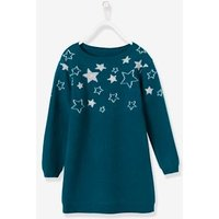 Knitted Dress With Shining Stars For Girls Green Dark Solid With Design