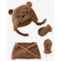 Baby Chapka, Snood & Mittens Set Brown Medium Solid