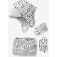 Baby Boys Snood, Hat & Mittens Set Grey Light Mixed Color