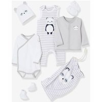 6-piece Set With Large Motif For Newborns Grey Light Striped
