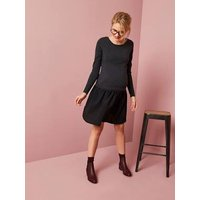 Dual Fabric Maternity & Nursing Dress Black Dark Solid