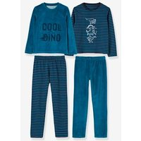 Pack of 2 Sets of Dual Fabric Pyjamas green dark solid with design