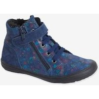 High-Top Lined Leather Trainers for Girls blue dark solid