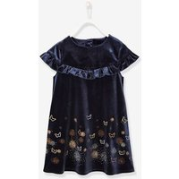 Formal Velour Dress With Iridescent Butterflies, For Girls Blue Dark All Over Printed