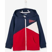 Boys Colour Block Jacket with Zip red dark solid with design