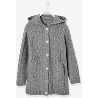 Hooded Cardigan for Girls grey medium solid