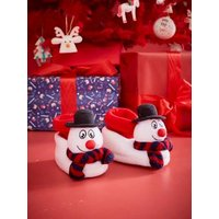 Snowman Slippers for Children white light solid with design