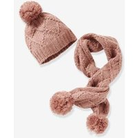 Cable Knit Beanie & Scarf for Girls pink medium solid