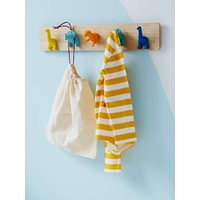 Coat Rack with Pegs, Dinosaurs beige light solid with design
