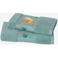 Tiger Bath Towel green medium solid with desig