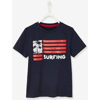 T-Shirt with Flag Motif for Boys blue dark solid with design