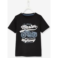 Short-Sleeved T-Shirt with Motorbike Motif for Boys black dark solid with design