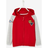 Jacket with Zip and Fun Patches, for Boys red dark solid