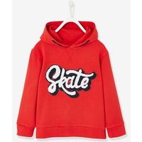 Jacket with Inscription in Bouclé Knit for Boys red dark solid