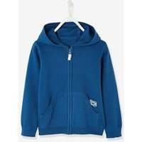 Zipped Jacket with Hood for Boys blue dark solid