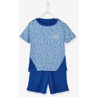Sports Combo for Boys: T-Shirt and Bermuda Shorts in Techno Fabric blue bright solid with design