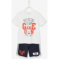 Sports Combo for Boys: T-Shirt and Bermuda Shorts green dark solid with design